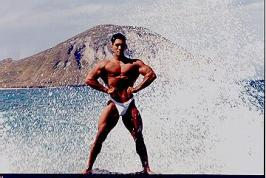 Posing on the rocks at Makapuu beach in 1996